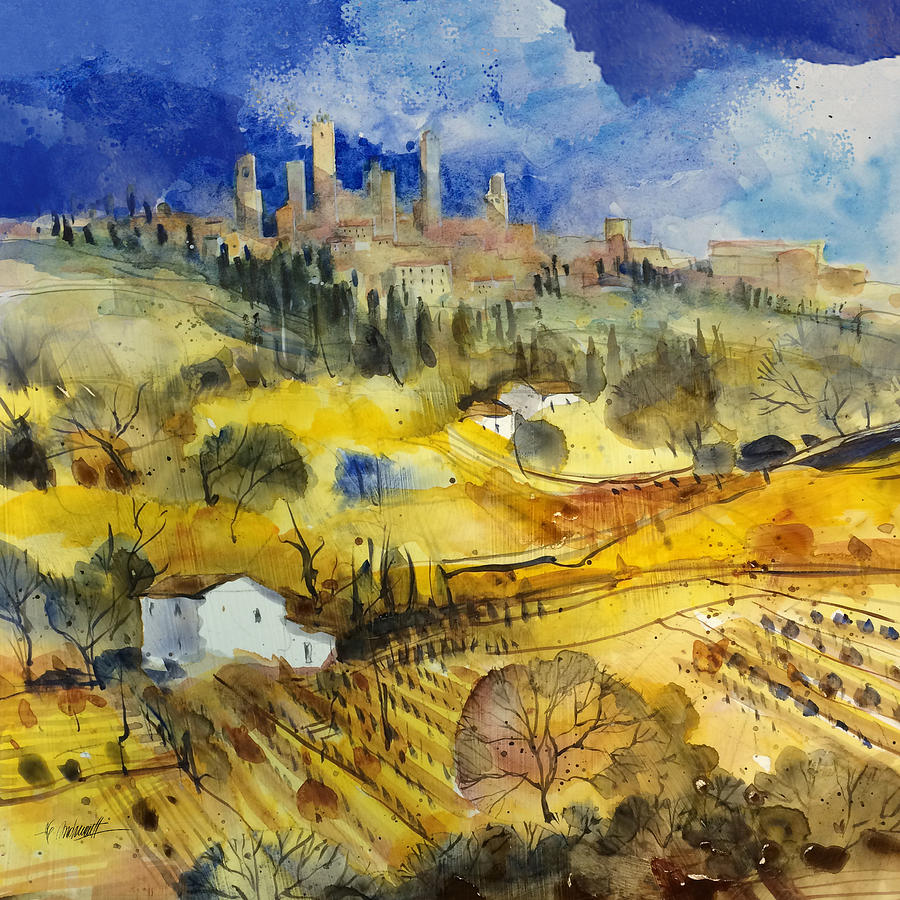Tuscany Painting - Tuscan landscape - San Gimignano by Alessandro Andreuccetti