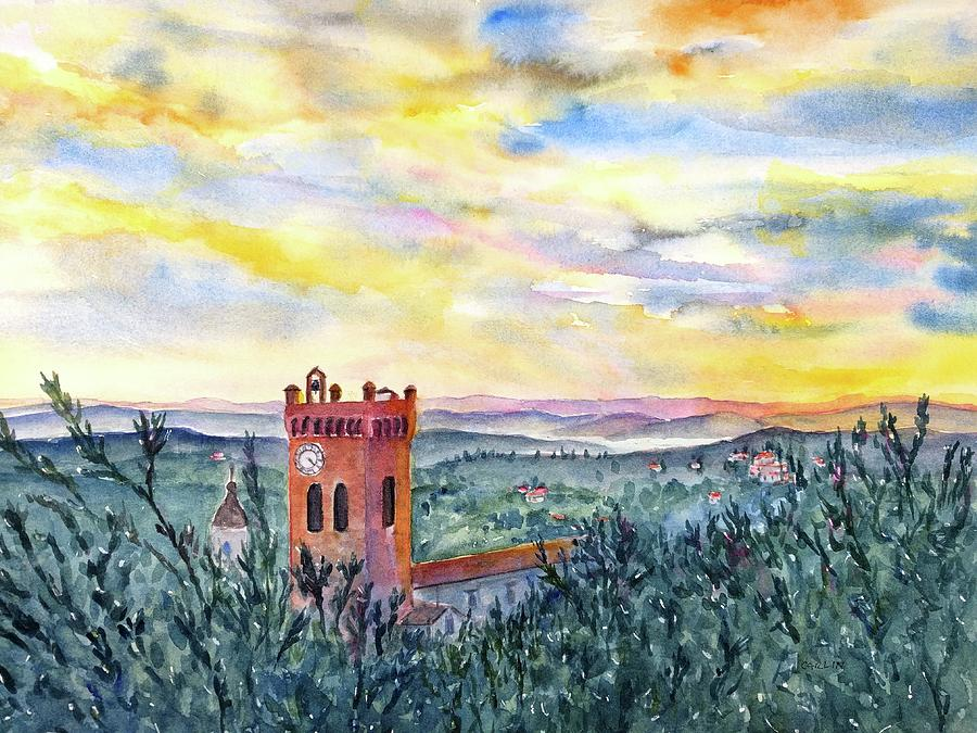 Tuscan Sunset over San Miniato Italy by Carlin Blahnik CarlinArtWatercolor