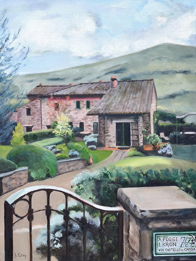 Tuscan Villa Painting by Donna Tuten