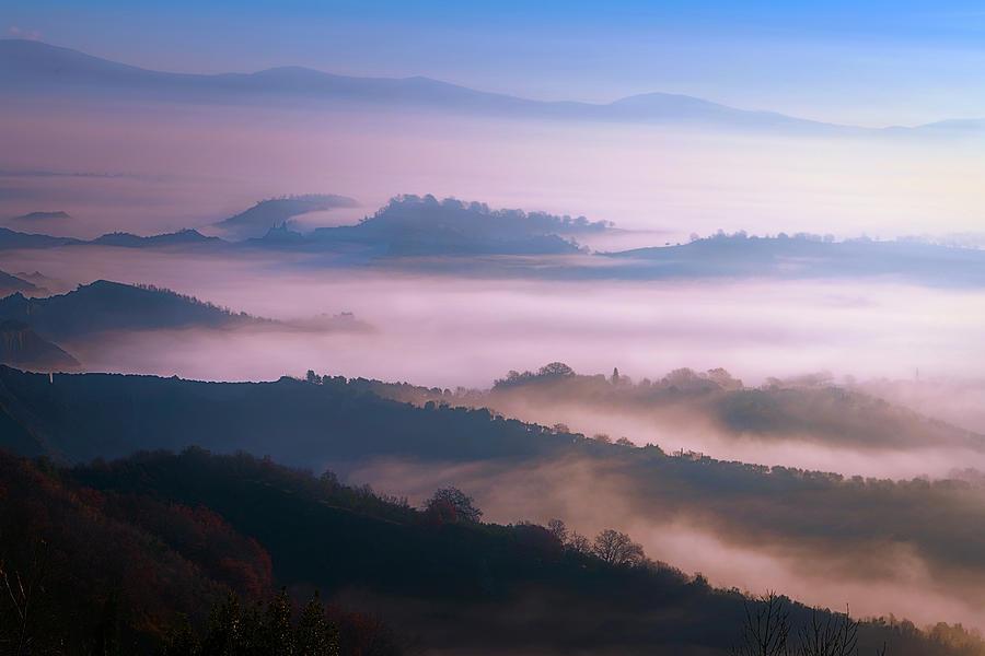 Tuscany Italy Foggy Countryside by Joan Carroll