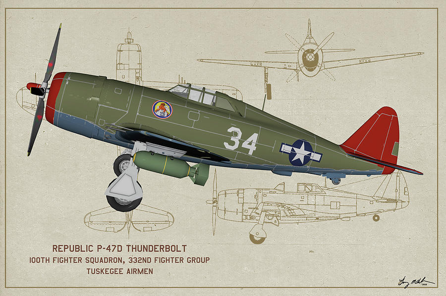 Razorback Digital Art - Tuskegee P-47d Razorback Profile Art by Tommy Anderson