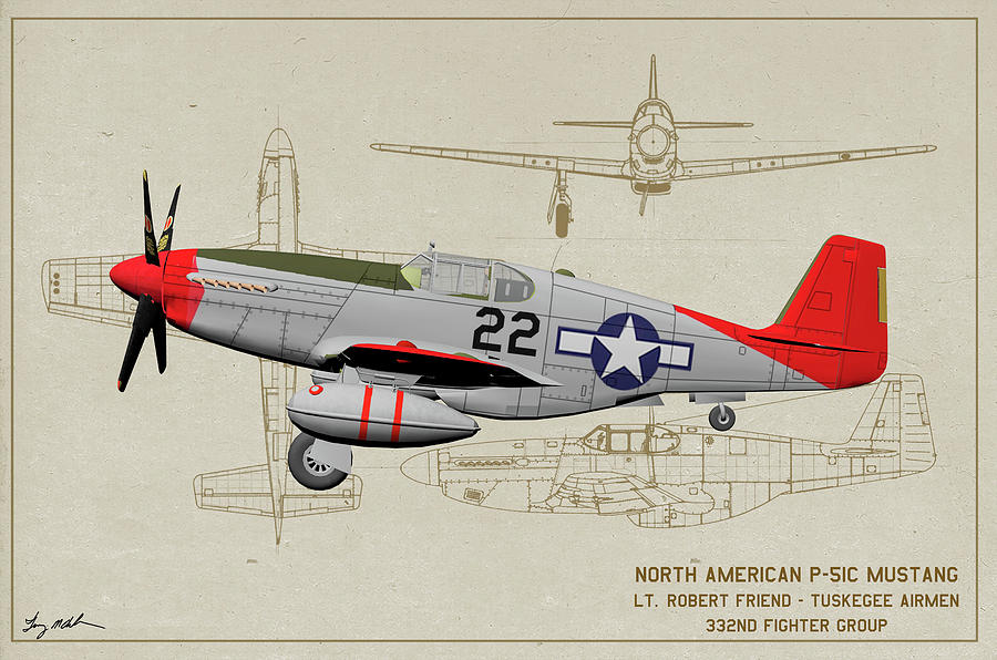 332nd Fighter Group Digital Art - Tuskegee P-51b 22 - Profile Art by Tommy Anderson
