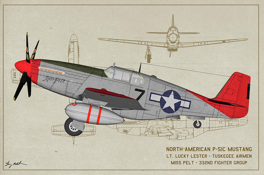 Tuskegee P-51C Miss Pelt Profile Art by Tommy Anderson