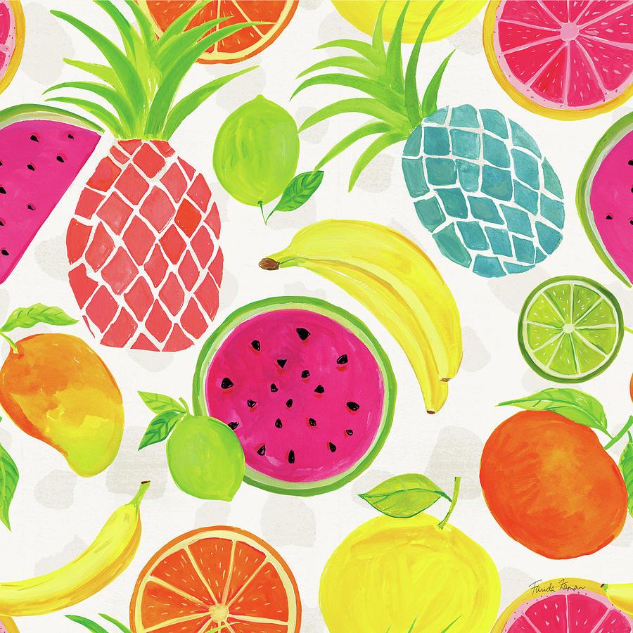 Tutti Frutti Pattern Iiia Painting By Farida Zaman