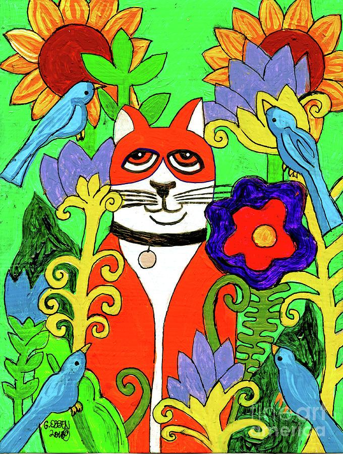 Tuxedo Cat With Four Bluebirds In Garden Painting