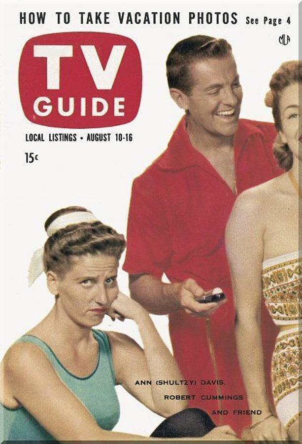 Tv Guide  Ann B Davis Robert Cummings And Friends. August 1957 Photograph