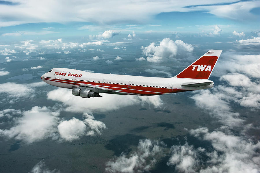 Trans World Airlines Mixed Media - TWA Boeing 747-131 by Erik Simonsen