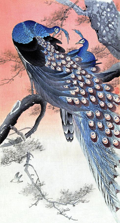 Twee pauwen op boomtak by Ruth Moratz