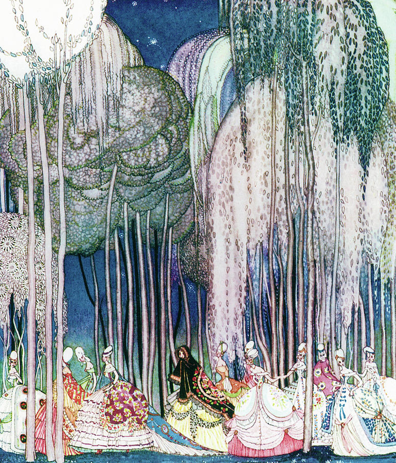 Princess Painting - Twelve Princesses Who Get Out Of The Castle And Dance To The Magical Kingdom by Kay Nielsen