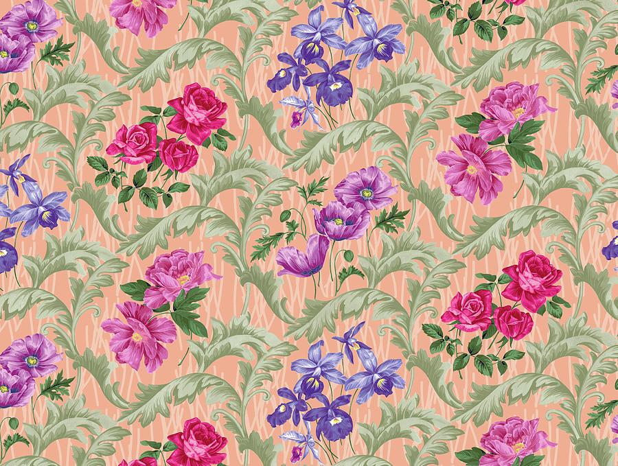 Flowers Digital Art - Twiggy Scroll Floral Melon by Bill Jackson