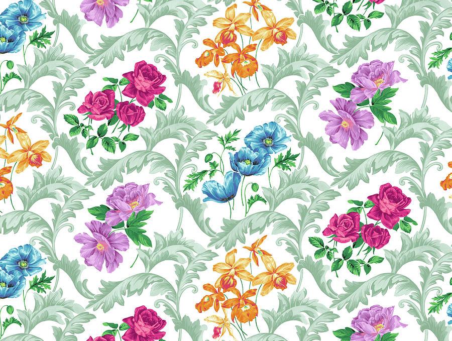Flowers Digital Art - Twiggy Scroll Floral Pastel by Bill Jackson