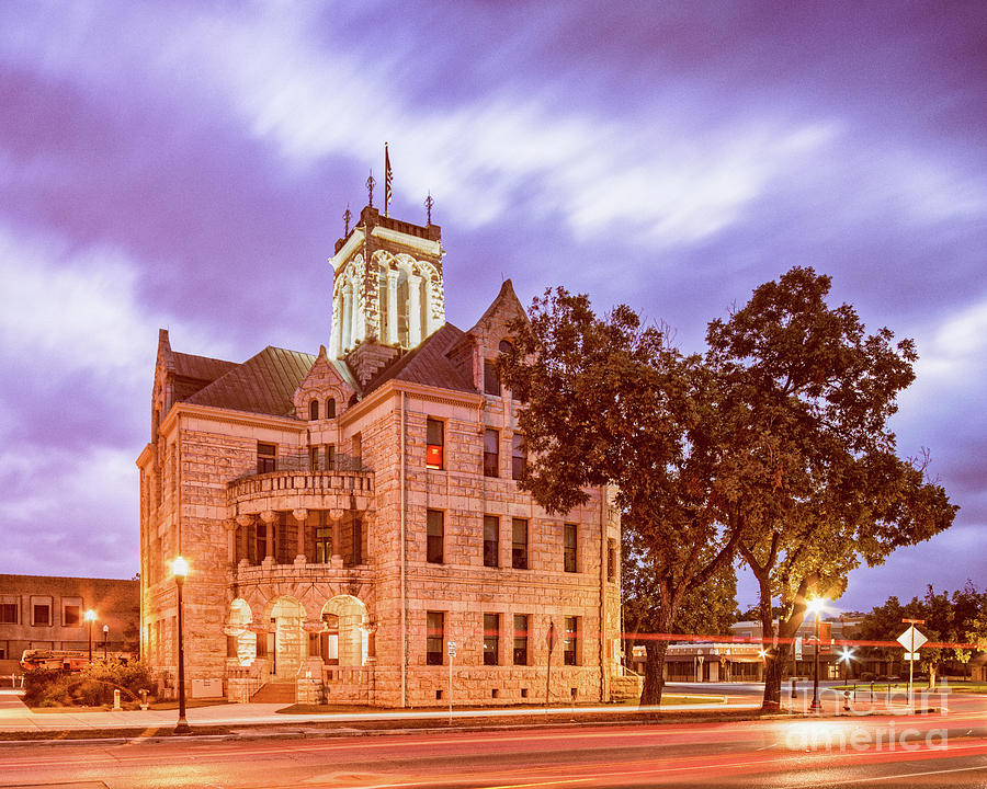 Twilight Architectural Photograph of Comal County Courthouse- New Braunfels Texas Hill Country by Silvio Ligutti