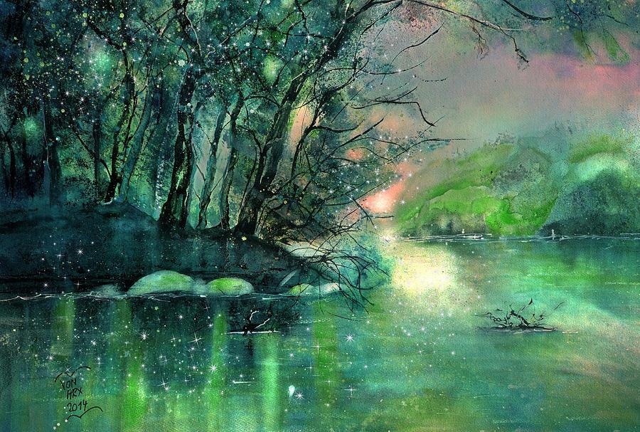 Twilight at the river Rhine by Sabina Von Arx