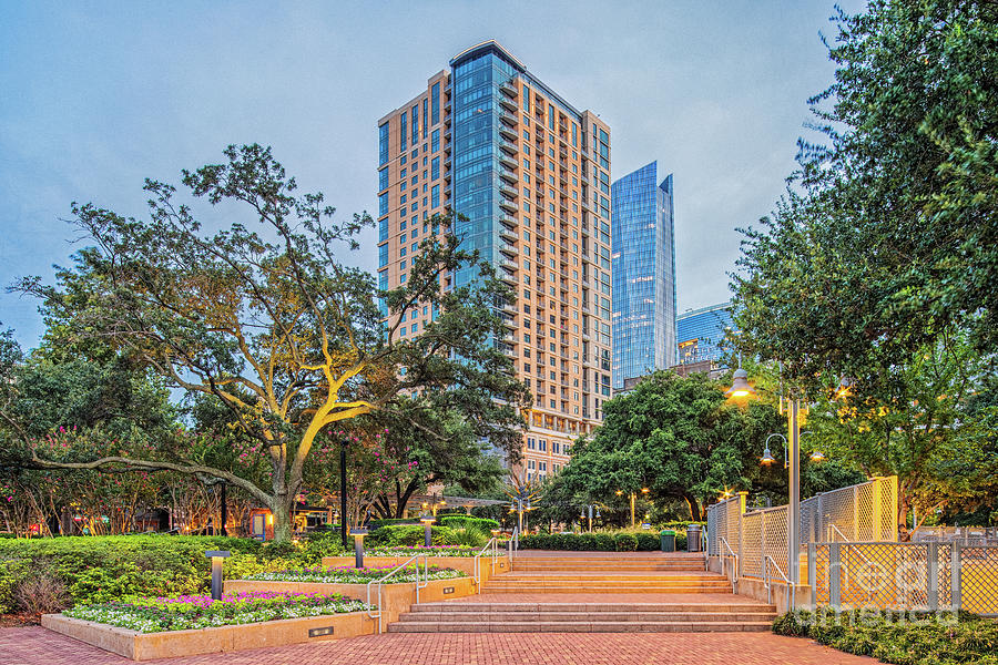 Twilight Hour At Market Square In Downtown Houston - Harris County Texas Photograph