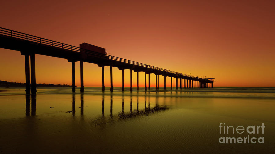 Twilight on the Beach Scripps Pier La Jolla San Diego CA by Edward Fielding