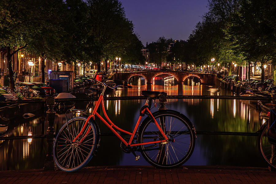 Amsterdam Photograph - Twilight Over An Amsterdam Canal by Andrew Soundarajan