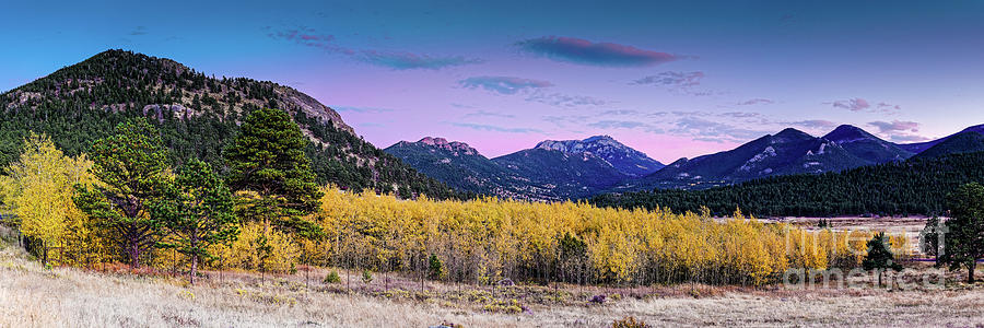 Twilight Panorama of Changing Aspens in Moraine Park - Rocky Mountains National Park - Estes Park  by Silvio Ligutti