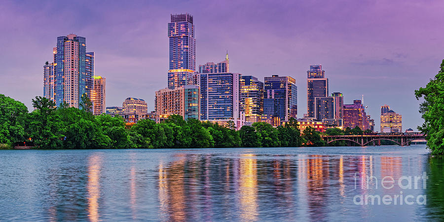 Twilight Panorama Of Downtown Austin Skyline And Lady Bird Lake - Austin Texas Hill Country Photograph