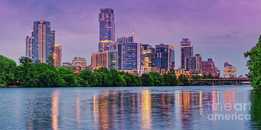 Twilight Panorama of Downtown Austin Skyline and Lady Bird Lake - Austin Texas Hill Country by Silvio Ligutti
