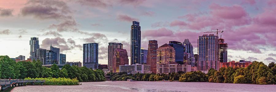 Twilight Panorama of Downtown Austin Skyline from Lady Bird Lake - Texas Hill Country by Silvio Ligutti