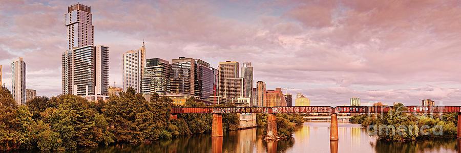 Twilight Panorama of Downtown Austin Skyline from Pfluger Pedestrian Bridge - Texas Hill Country by Silvio Ligutti