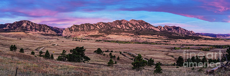 Twilight Panorama of Flatirons Mountain Range in Boulder - Front Range Colorado by Silvio Ligutti