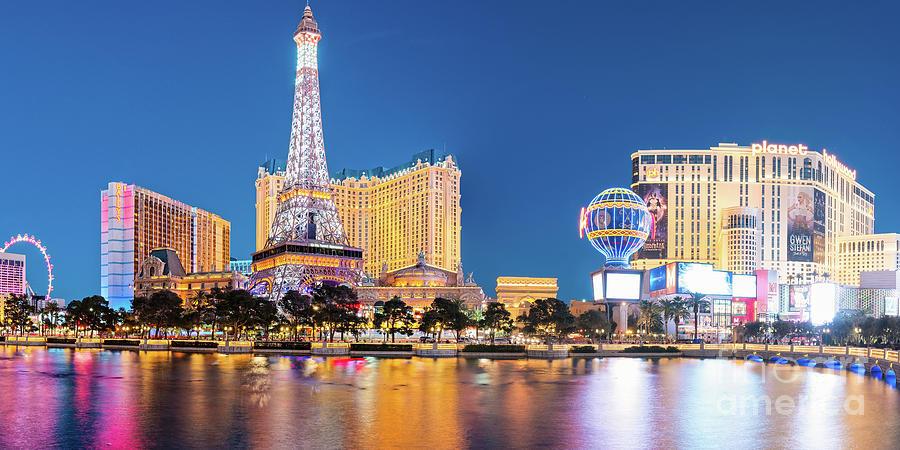 Twilight Panorama Of Neon Heaven - Las Vegas Strip Skyline - Mojave Desert Nevada Photograph