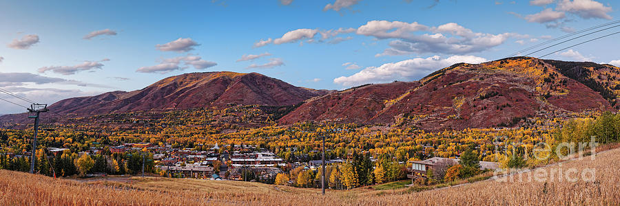 Twilight Panorama of Town of Aspen Red Mountain and Smuggler Mountain - Pitkin County Colorado by Silvio Ligutti