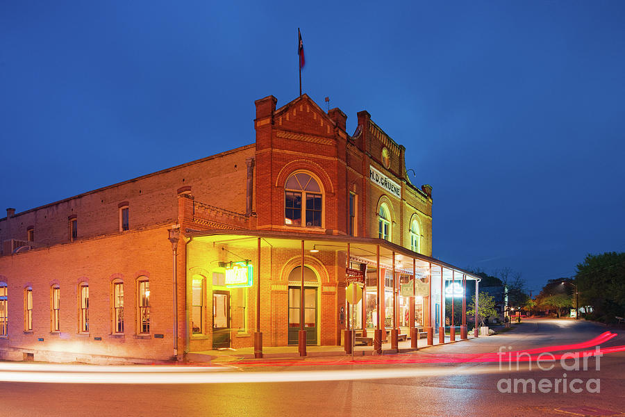 Henry Photograph - Twilight Photograph Of H.d. Gruene Mercantile Building - New Braunfels Texas Hill Country by Silvio Ligutti