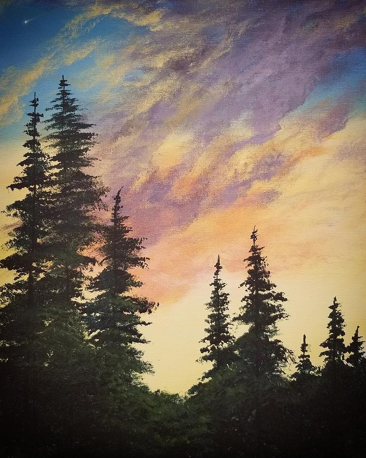 Twilight Pines Painting