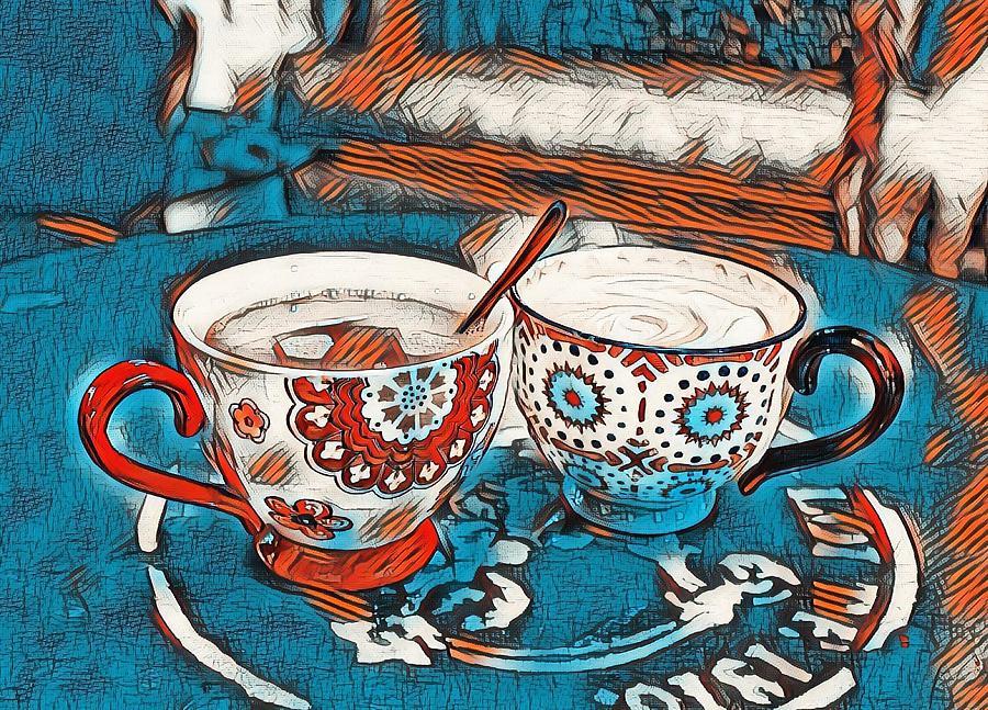 Coffee Photograph - Twin Coffee Cups by Angel Eowyn