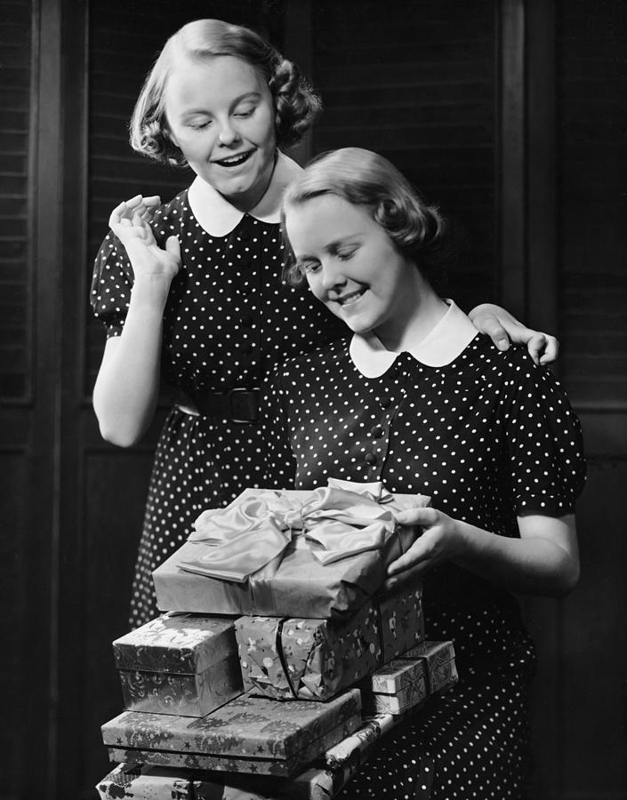 Twin Teenage Girls W Wrapped Gifts Photograph by George Marks