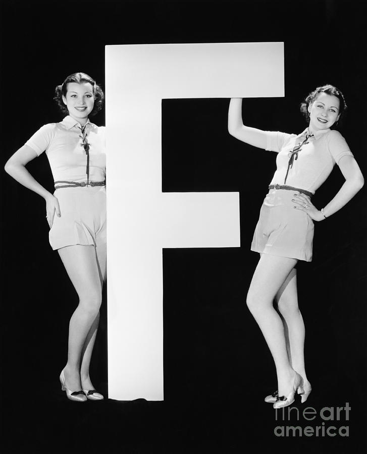 Big Photograph - Twins With Huge Letter F by Everett Collection