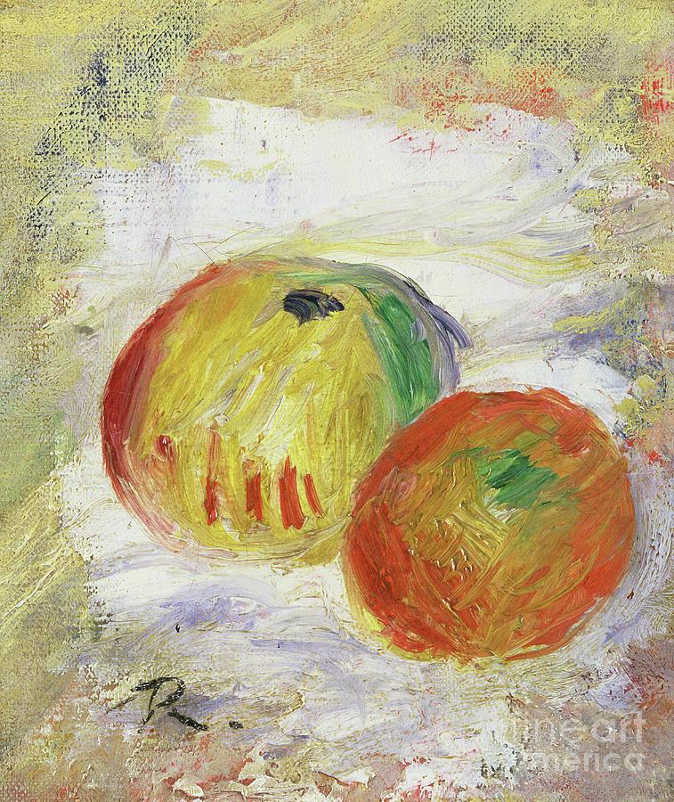 Apples Painting - Two Apples, 1875 by Pierre Auguste Renoir