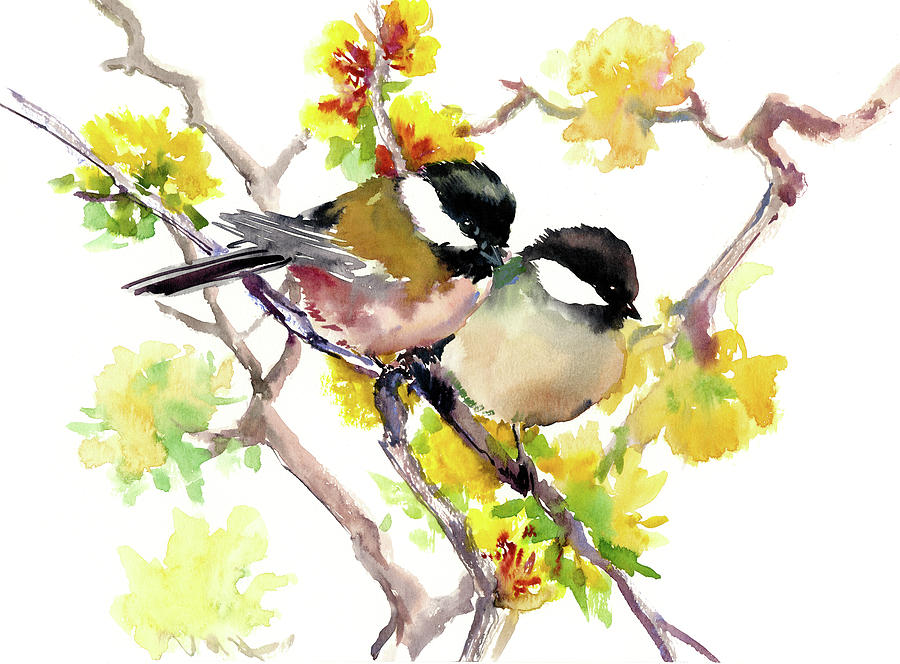 Two Birds And Spring Chickadee Bird Beautiful Home Decor Painting