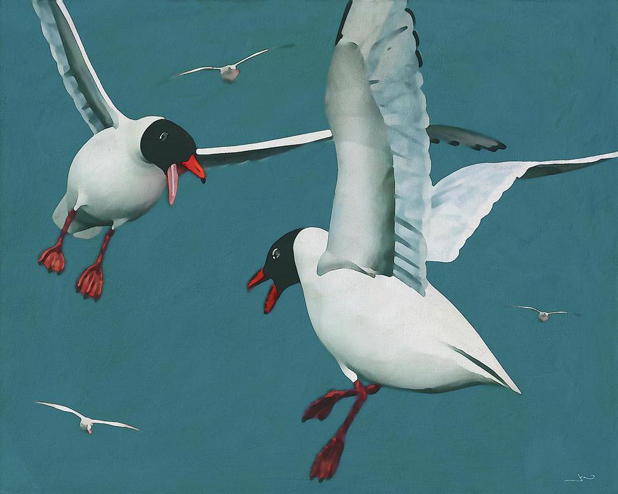 Two Black Seagulls fighting in their natural habitat by Jan Keteleer