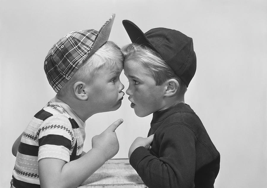 Two Boy Arguing, Close-up Photograph by Tom Kelley Archive