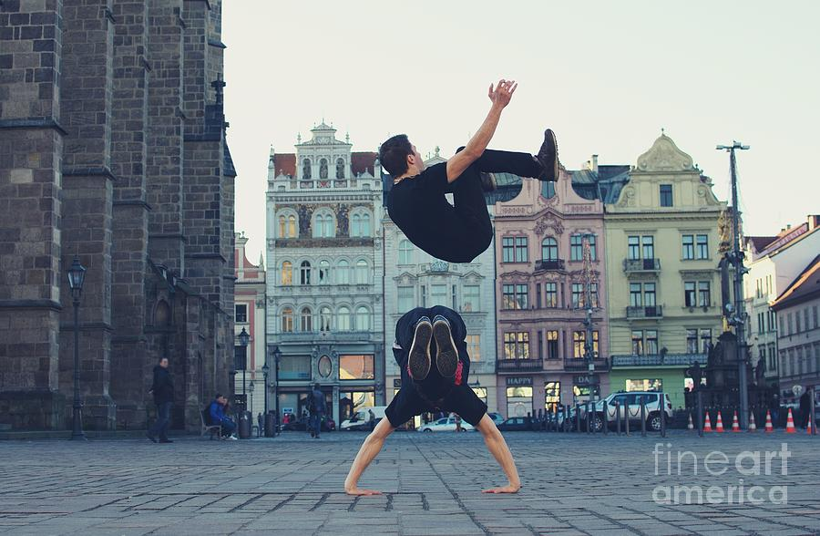 Strength Photograph - Two Breakdancers Dancing Breakdance On by Davidtb