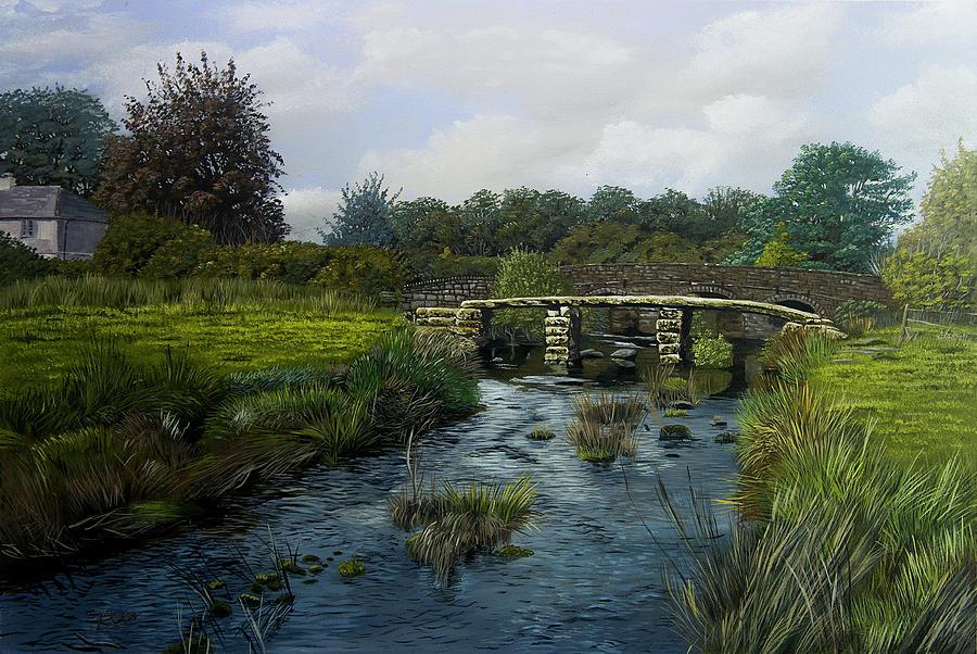 Dartmoor National Park Painting - Two Bridges Dartmoor by Raymond Ore