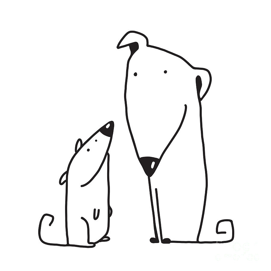 Small Digital Art - Two Cartoon Brown Dog Parent And Kid by Popmarleo