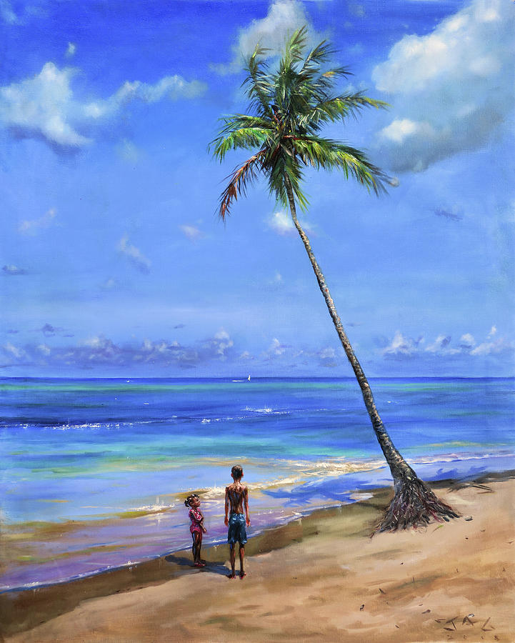 Beach Scene Painting - Two Children By Coconut Tree by Jonathan Guy-Gladding JAG