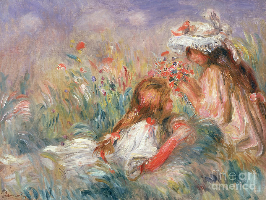 Picking Painting - Two Children Seated Among Flowers, 1900 by Pierre Auguste Renoir