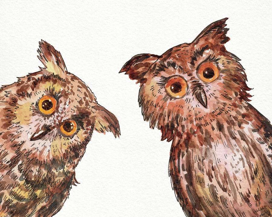 Owl Painting - Two Curious Baby Owls Watercolor by Irina Sztukowski