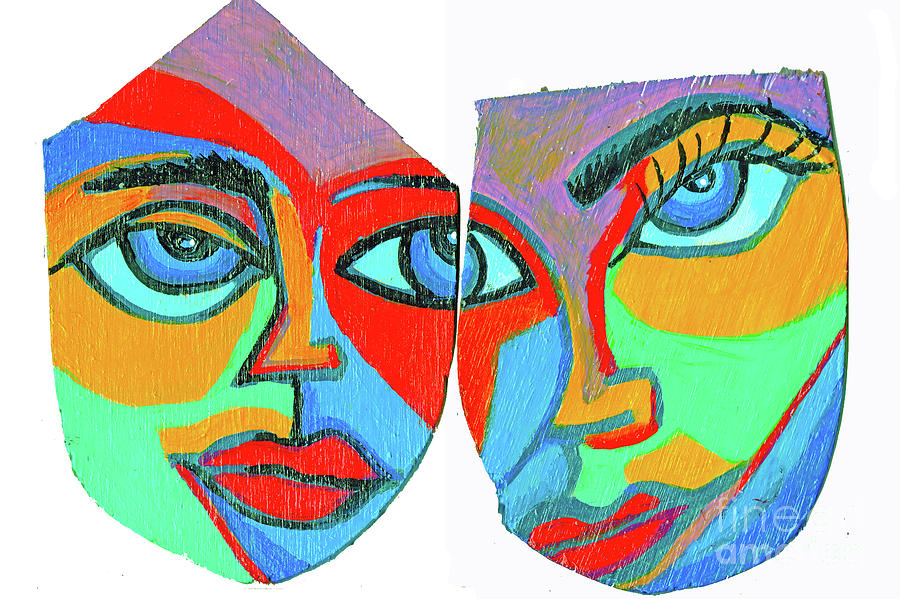 Two Faces On Wood by Genevieve Esson