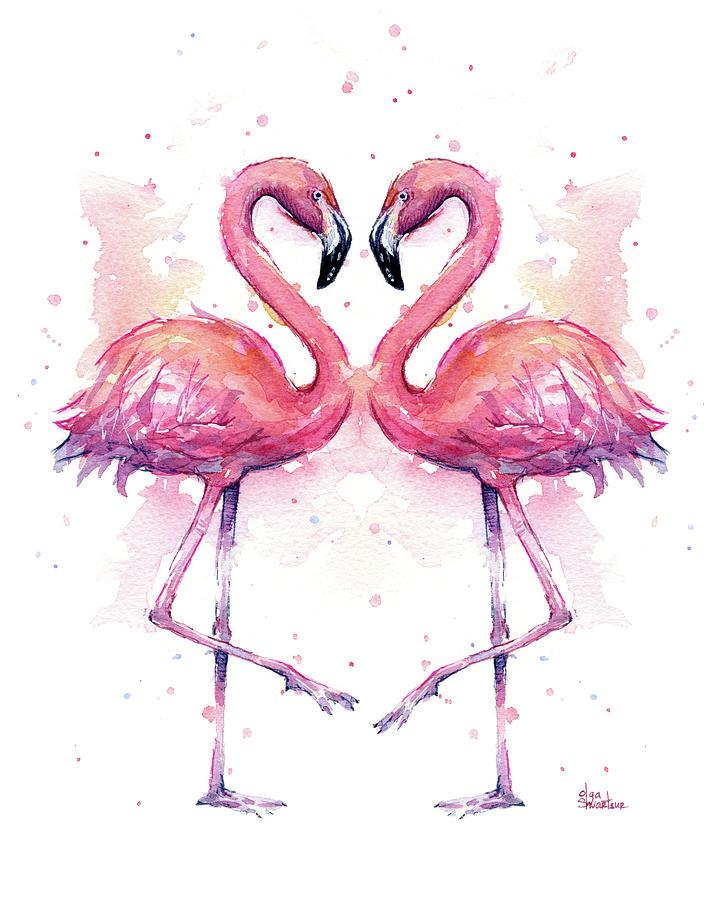 Flamingo Painting - Two Flamingos In Love Watercolor by Olga Shvartsur