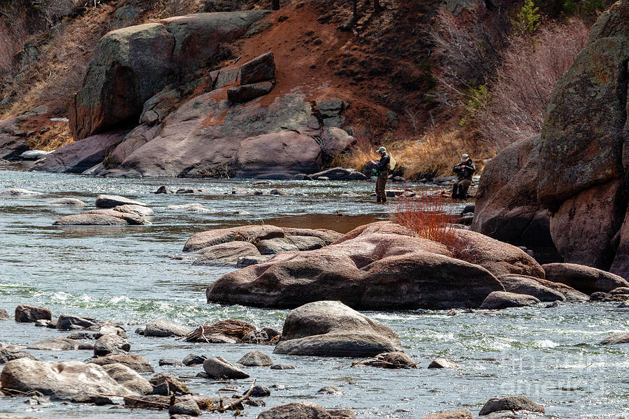Two Fly Fishermen On The Platte In The Colorado Rockies Photograph