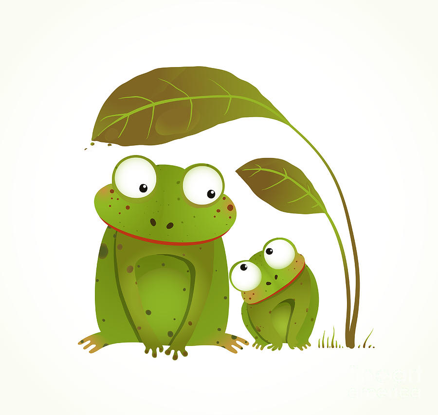 Two Frogs Mother And Baby Childish Digital Art By Popmarleo