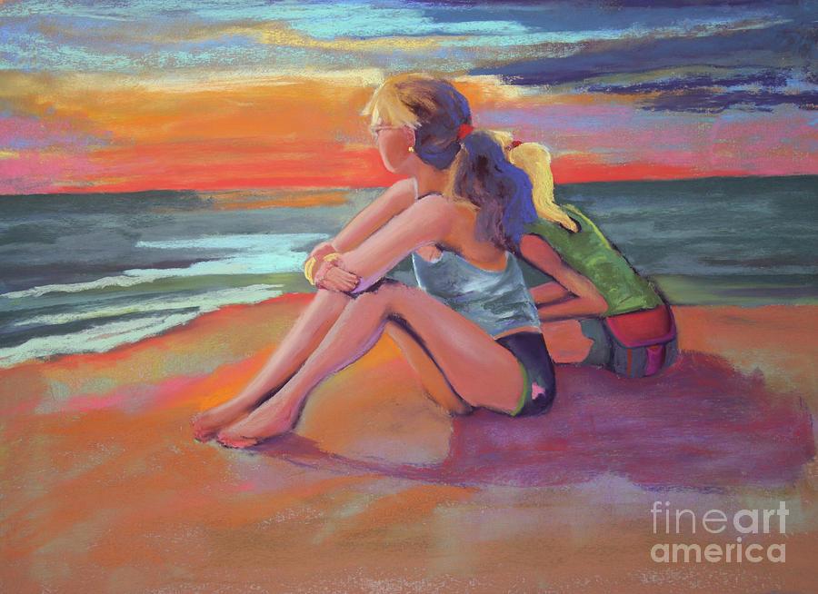 Sunset Pastel - Two Girls Enjoying A Florida Sunset by Cheryl Yellowhawk