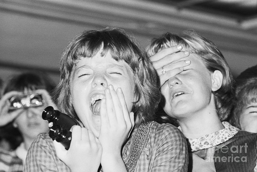 Two Girls Screaming At A Beatles Concert Photograph by Bettmann