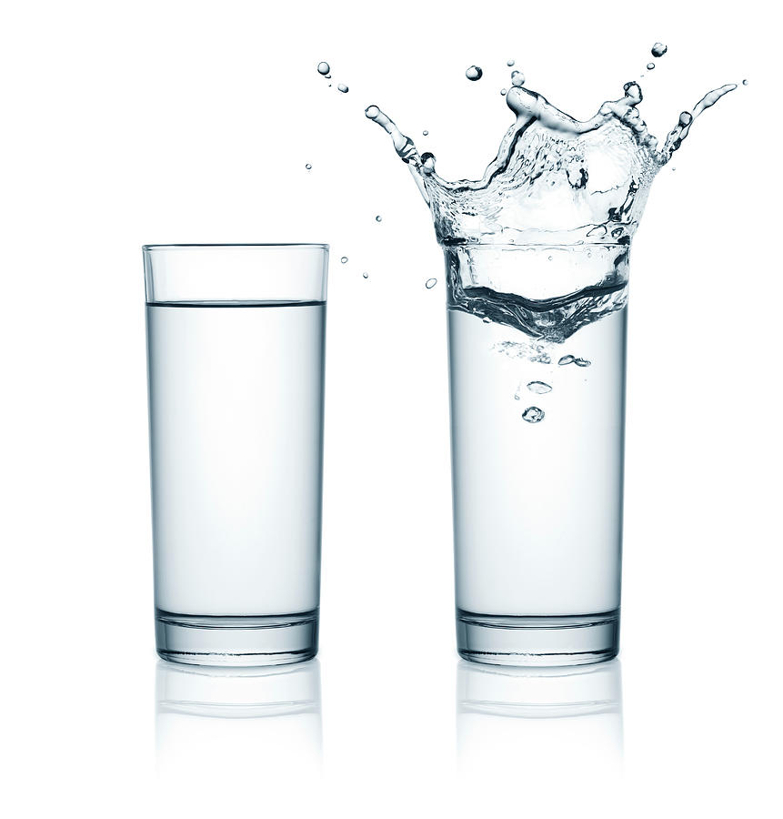 Two Glasses Of Water, One With Splashes Photograph by Julichka